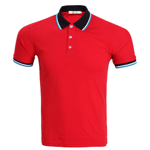 Mens Fashion Casual Contrast Color Collar Tees Turn-down Short Sleeve Golf Shirt 7 Colors