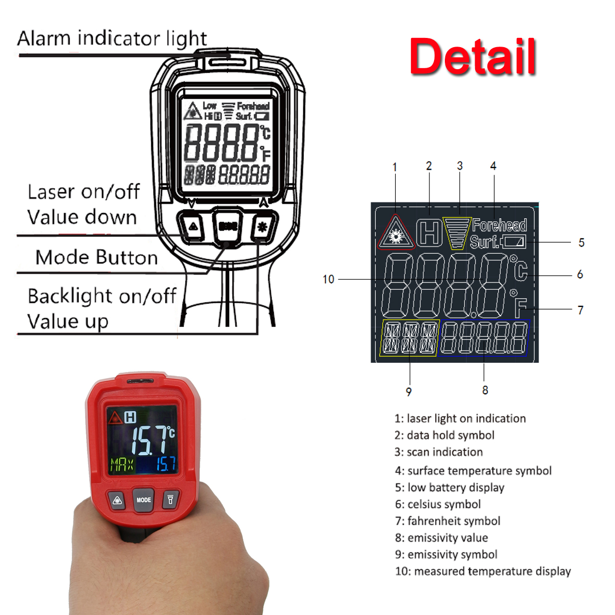 Non-contact Digital Infrared 8 Laser Point Temperature Gun Thermometer Detector -50℃ to 550℃