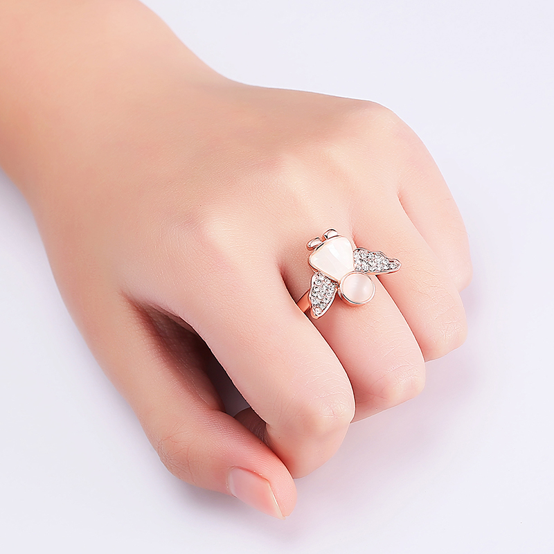 Sweet Angel Opal Ring Clothing Accessories Rose Gold Plated Anallergic Jewelry for Women