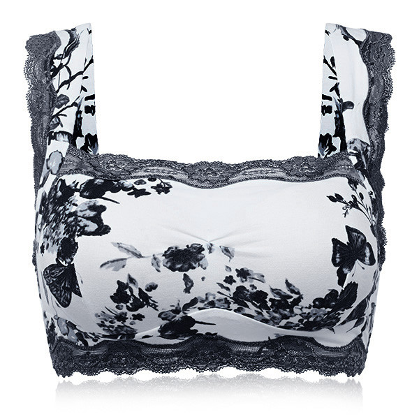 Sexy V Wire Free Lace Chinoiserie Comfy Seamless Water Color Floral Printing Vest Bra Tank Top