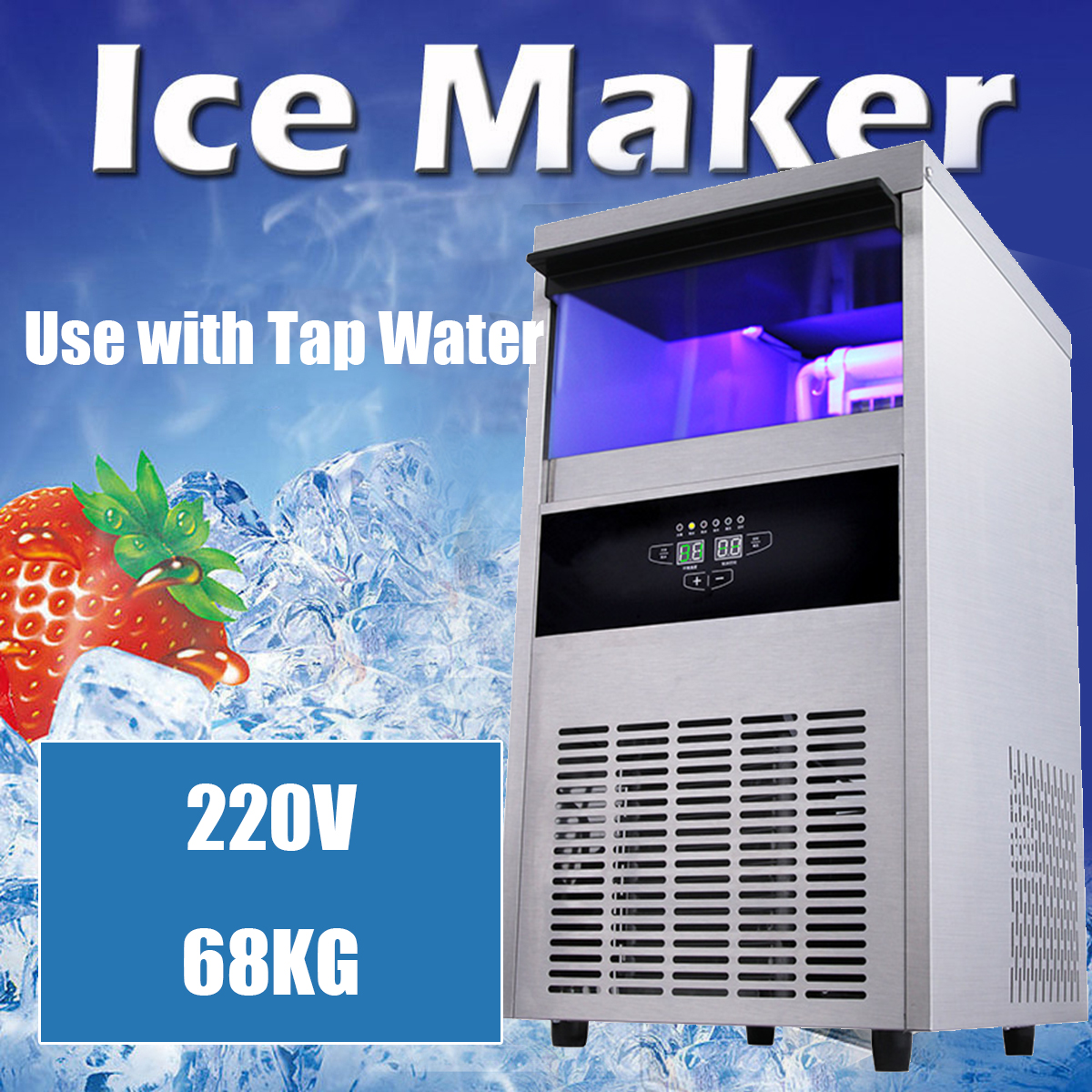 220V 340W 68Kg/24hr Auto Ice Cube Maker Machine Commercial Icemaker Stainless Steel Bar