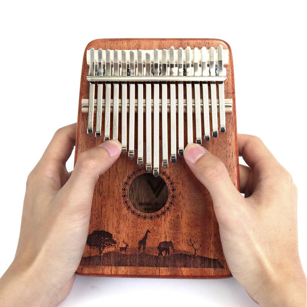 Jonas 17 Keys Finger Kalimba Thumb Piano African Percussion Mahogany Wood Musical Instrument