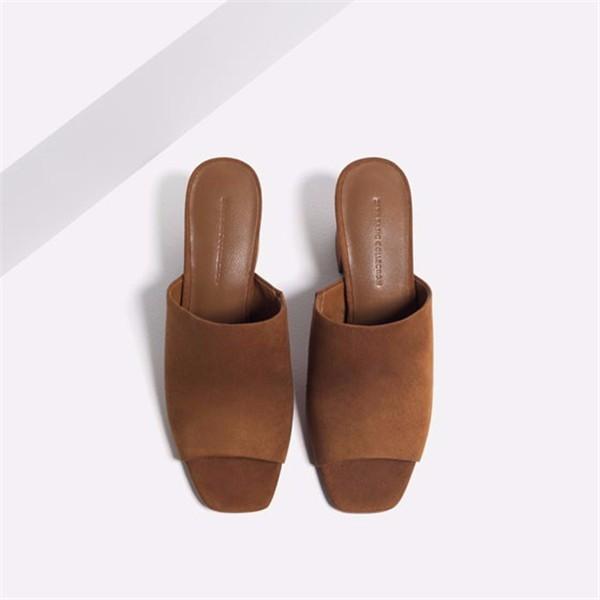 Suede Peep Toe Slip On Square Heel Pure Color High Heels Sandals
