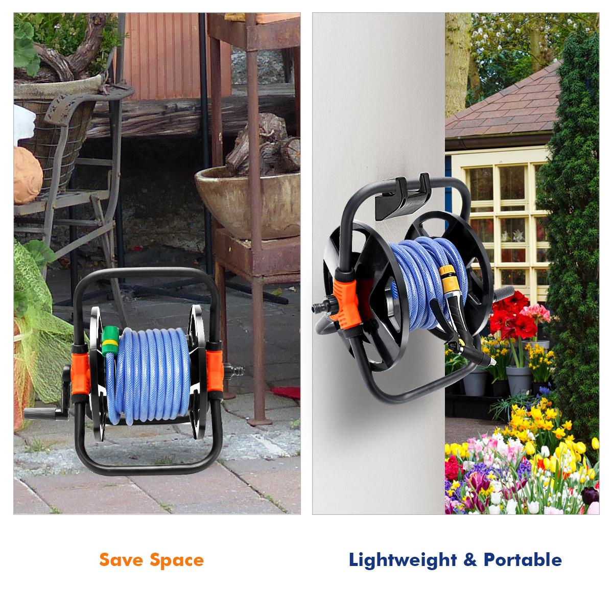 Portable Garden Water Pipe Hose Reel Cart Outdoor Plant Holder Storage Organizer