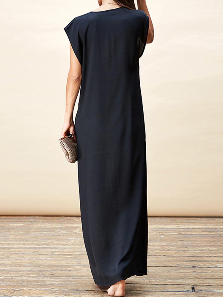 Women Deep V Neck Sleeveless Party Long Maxi Dress