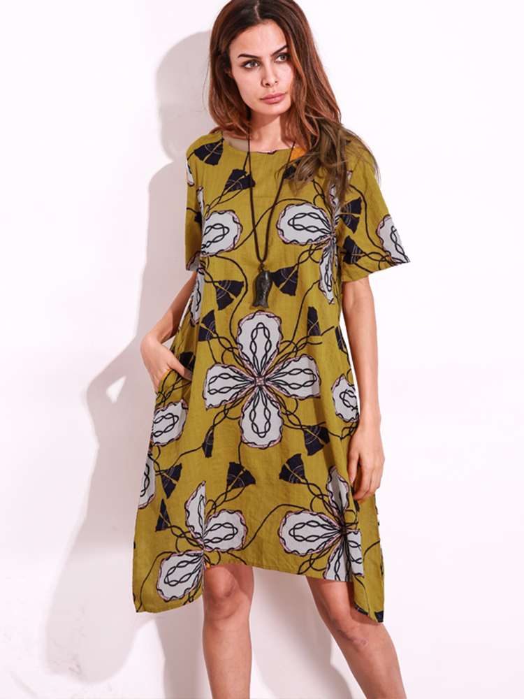 Women Floral Print O-neck Short Sleeve Asymmetric Mini Dresses