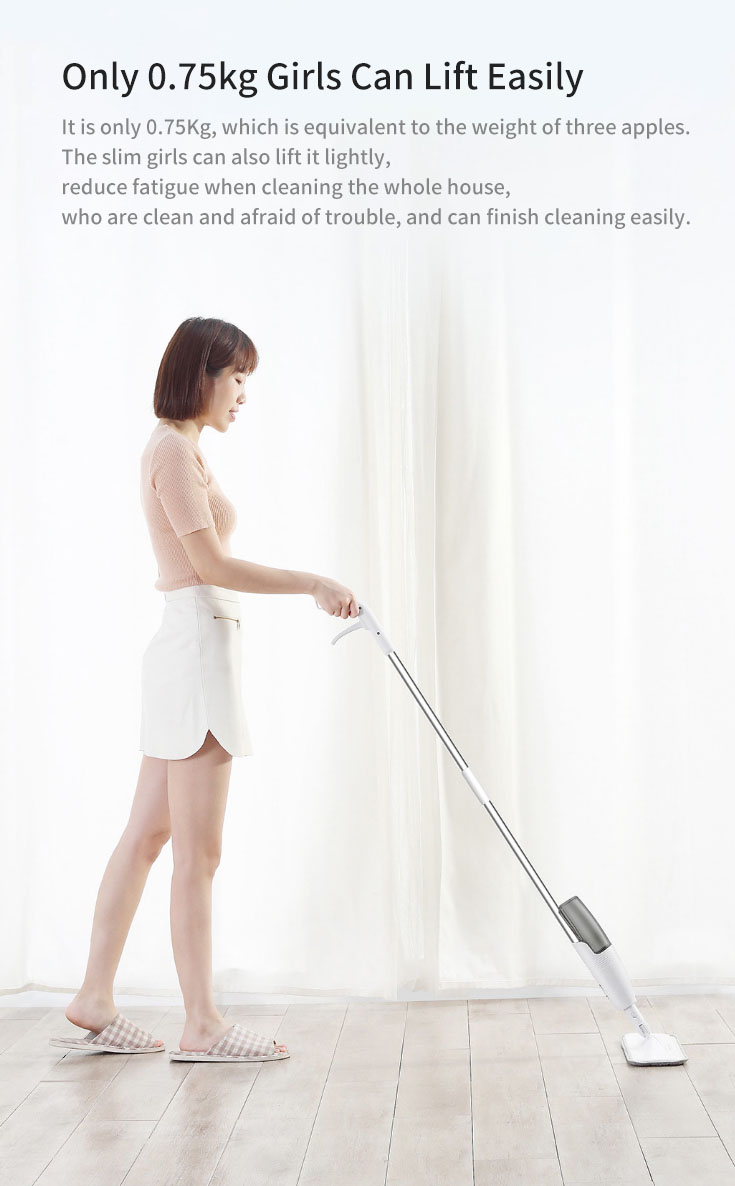 Xiaomi Mijia Deerma Water Spray Mop Light Weight 360 Rotating Rod Clean Tool with Carbon Fiber Material Cloth for Home