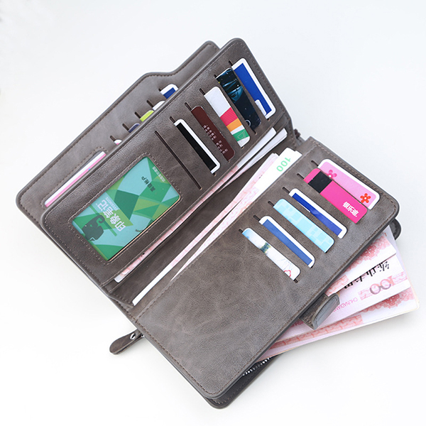 Vintage Large Capacity Business Multi-slots Trifold Wallet