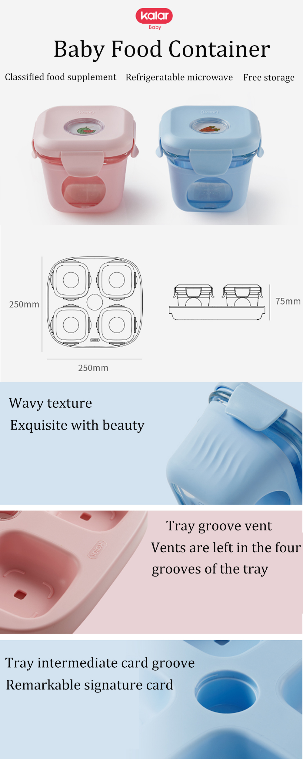 Xiaomi Kalar 2/4Pcs Set Baby Infant Food Container Silicone Glass Tableware Lunch Fruit Storage Box