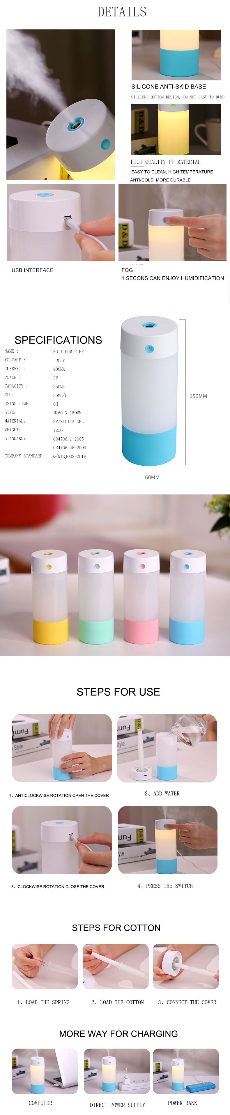 Loskii LH-630 USB Anti-dry Air Humidifier Mute Night Light Aroma Ultrasonic Diffuser Air Mist Maker