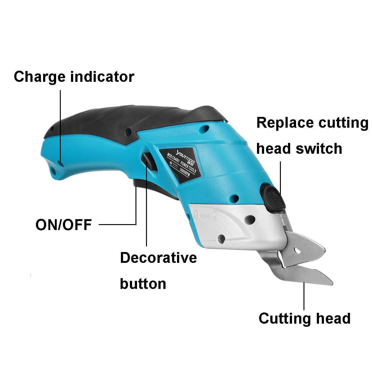 220V 20W Cordless Multi-Cutter Lithium-Ion Electric Scissors Leather Fabric Cutting Tool 10000rmp