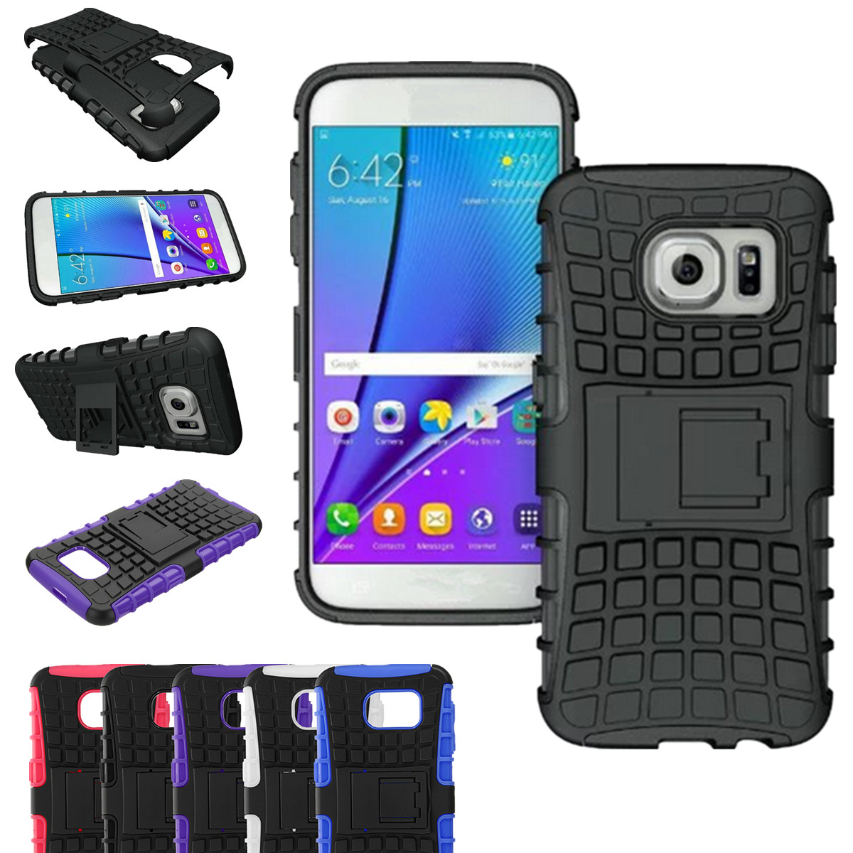 Tyre Texture TPU+PC Shockproof Kickstand Case For Samsung Galaxy S6