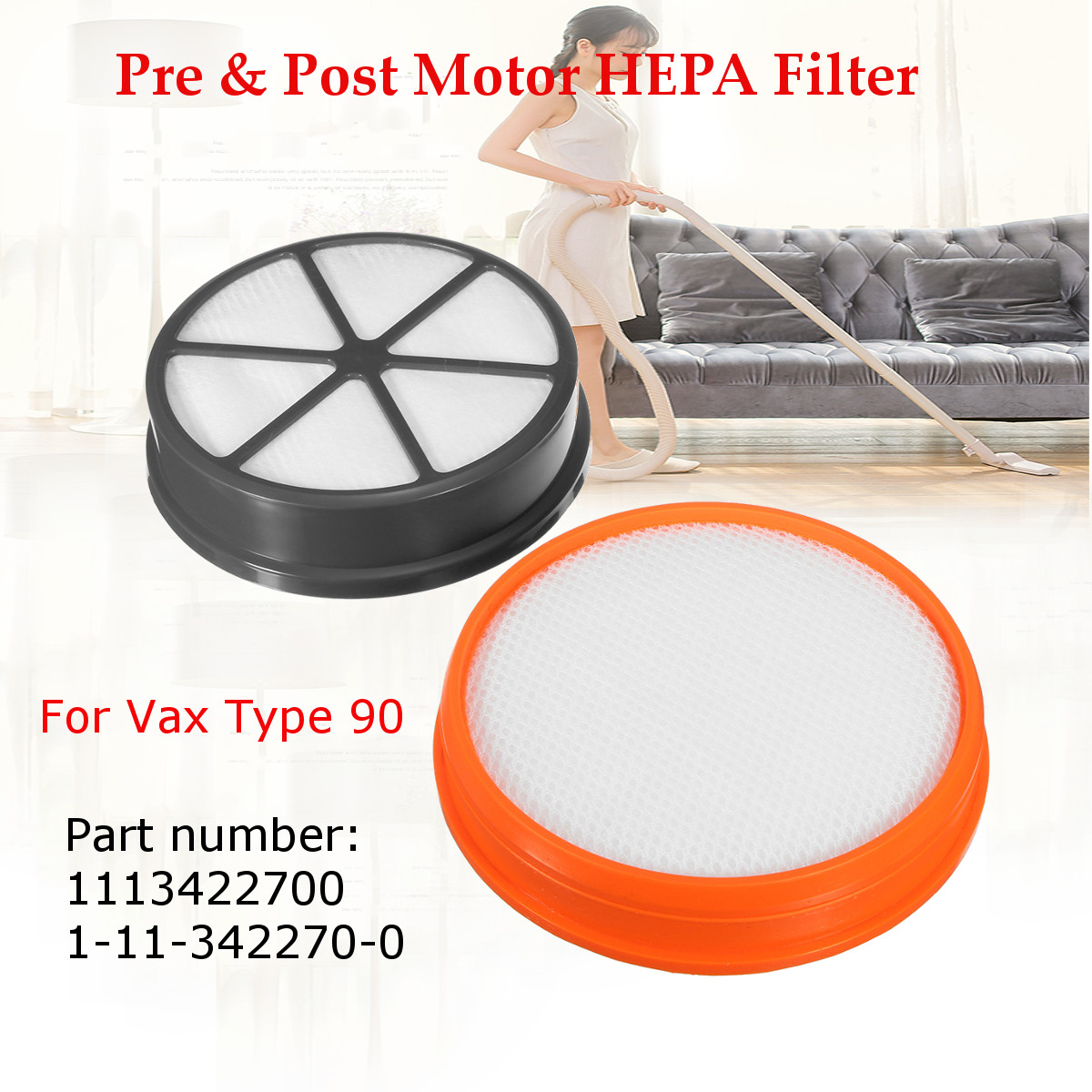 Pre & Post Motor HEPA Filter Set for Vax Mach Air Upright Type 90 Vacuum Cleaner