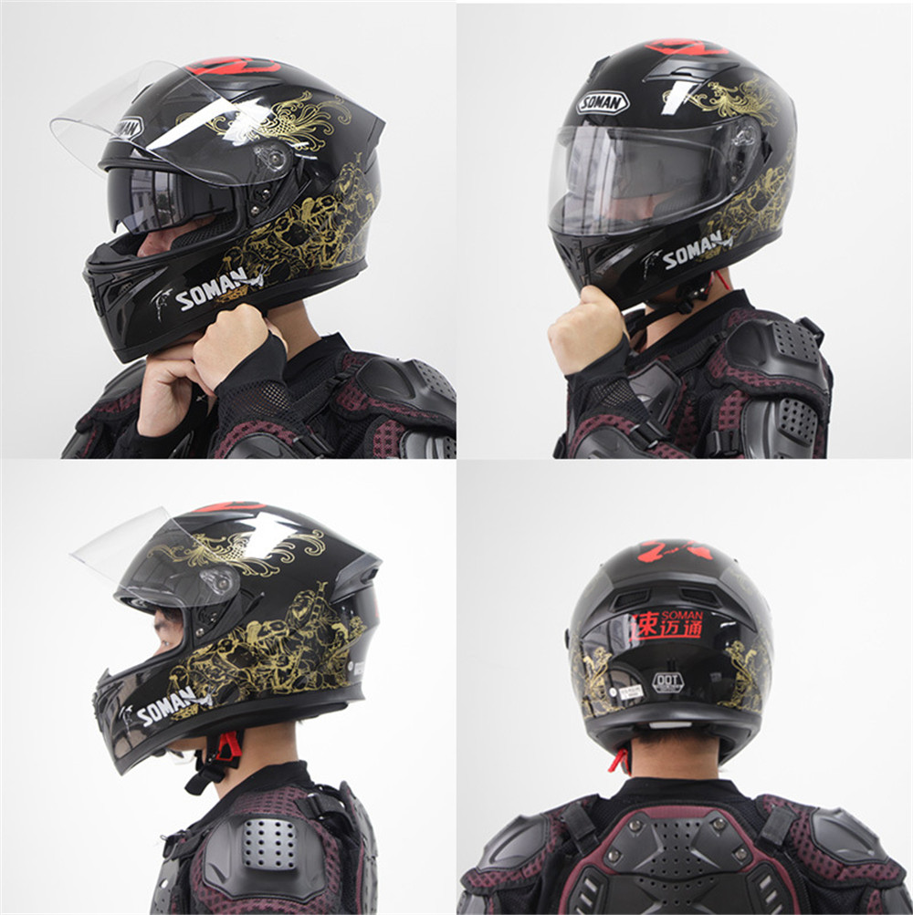 Soman Motorcycle Full Face Helmet Cycling Double Lens Chinese Style Breathable