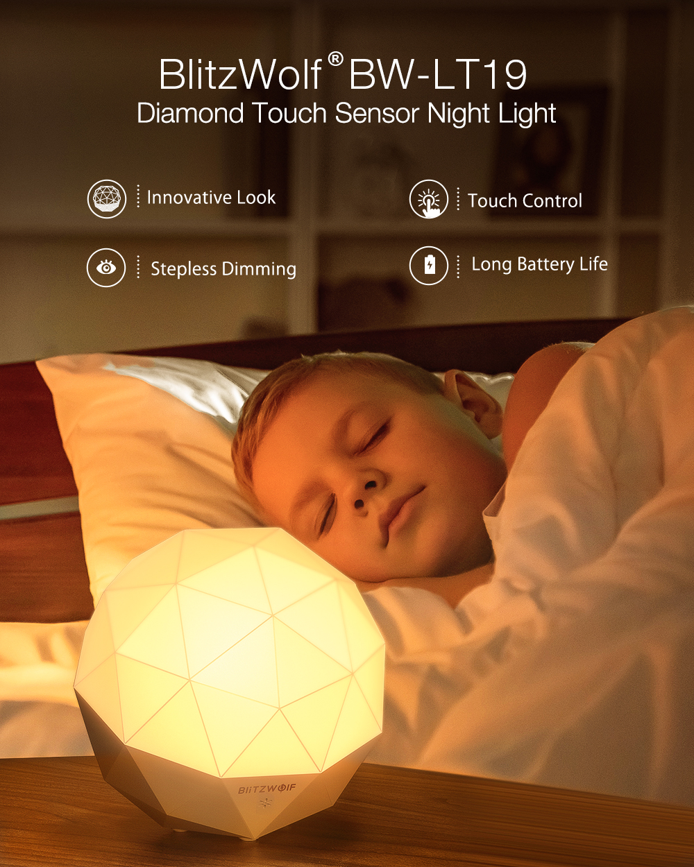 BlitzWolf® BW-LT19 Diamond Ambient Touch Sensor Night Light 3000K Color Temperature 300lm Touch Control Stepless Dimming USB Charging Night Lamp