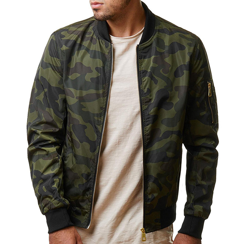 Mens Military Camouflage Arm Zipper Pocket Plus Size Jacket