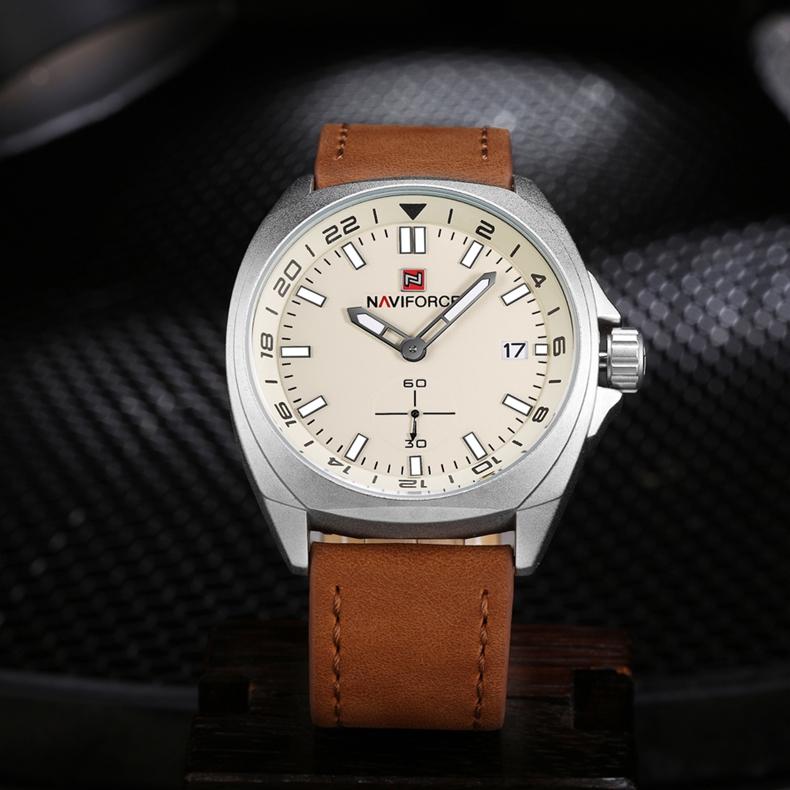NAVIFORCE 9104 Genuine Leather Quartz Watch Casual Style Male Wristwatch
