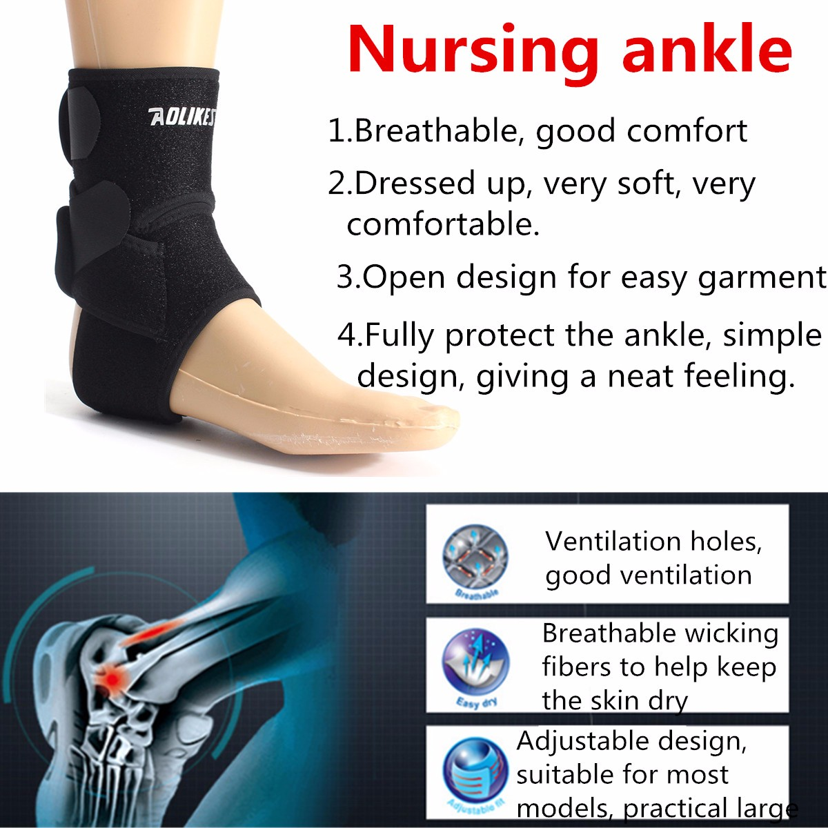 Neoprene Adjustable Ankle Strap Compression Support Brace Football Basketball Protective Gear