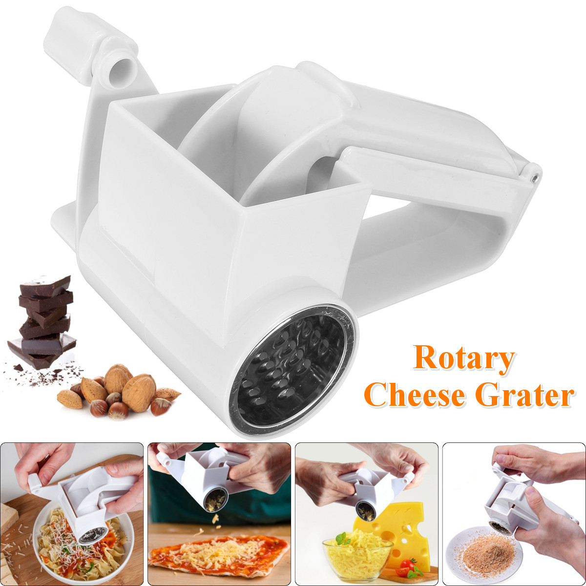 Rotary Cheese Grater Grates Hard Chocolate and Nuts Kitchen Tool