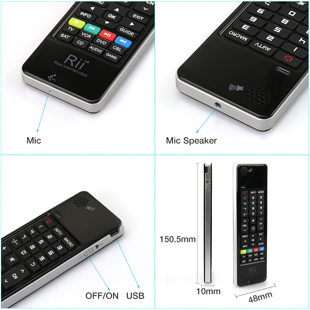 Rii i13 2.4G Wireless Mini Keyboard AirMouse Remote Control with Microphone Speaker