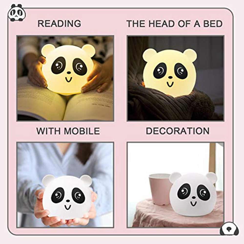Tap Control Colorful LED Silicone Panda USB Rechargeable Night Light Nursery Lamp for Kid Bedroom