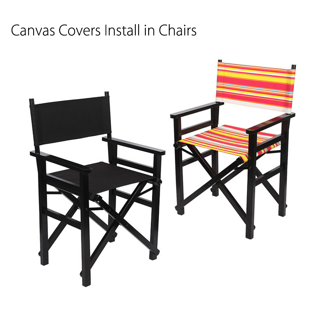 4 Colors Casual Directors Chair Canvas Seat Back Cover Replacement Kit