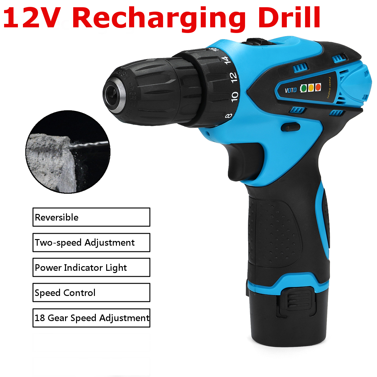 VOTO 12V Cordless Rechargeable Screwdriver Reversible Power Drill Driver Set Adjustment Speed