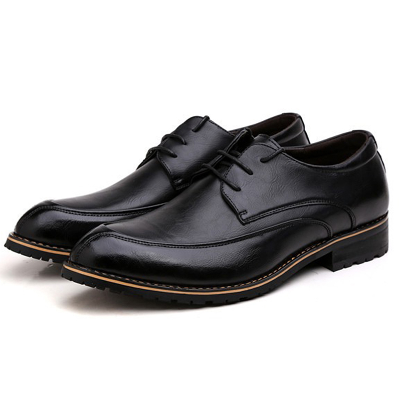Men Leather Lace Up Oxfords