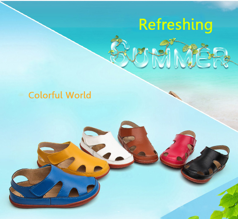 2016 New Children Sandals Boys Girls Genuine Leather Kids Cut Out Shoes