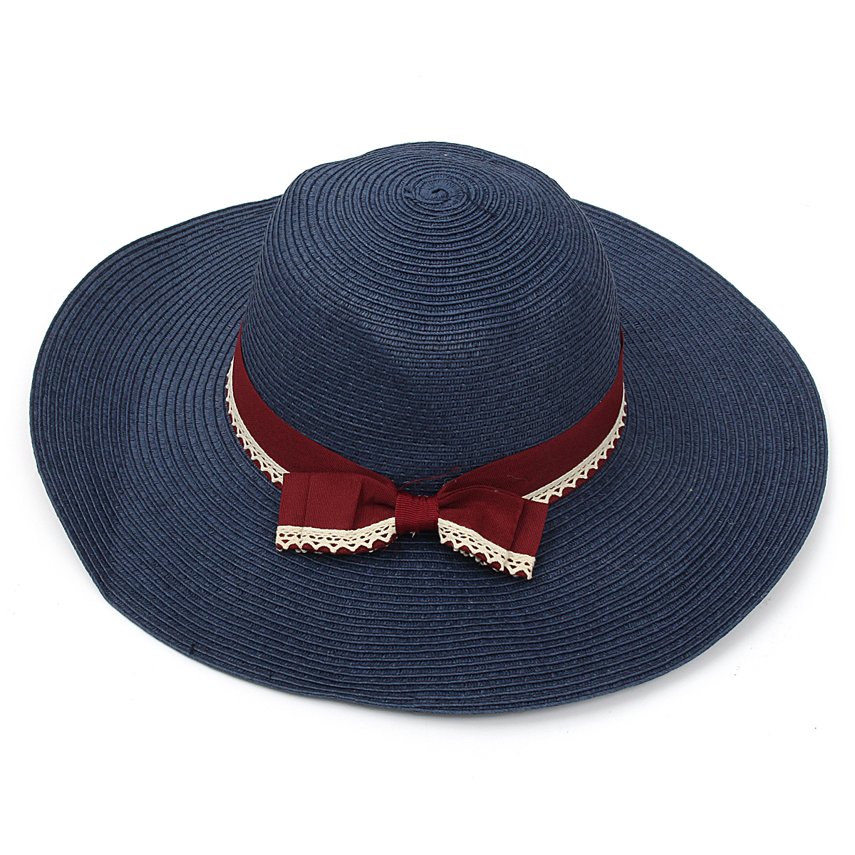 Women Girls Wide Brim Summer Straw Beach Hat Bowknot Sun Floppy Beauty Cap