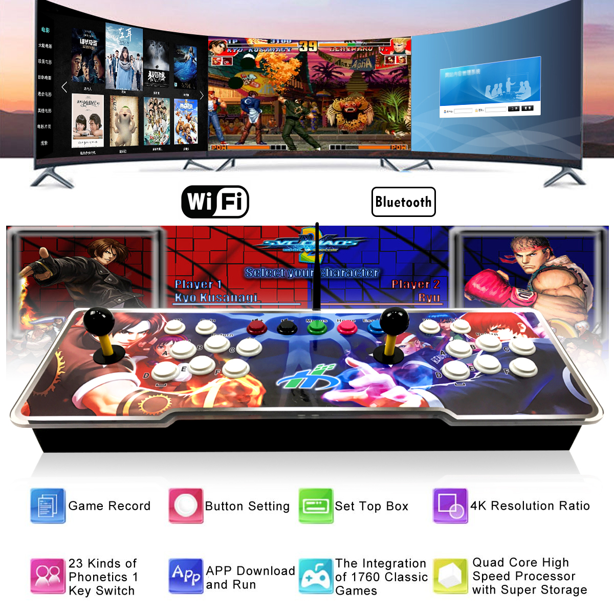 1760 in 1 Dual Player 1GB RAM 16GB ROM Android 5.1 bluetooth 2.4G WIFI Arcade Game Console TV Box