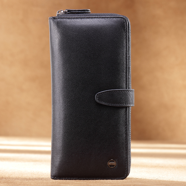 Men Genuine Leather Phone Wallet Long Zipper Wallet Business Clutch Bag