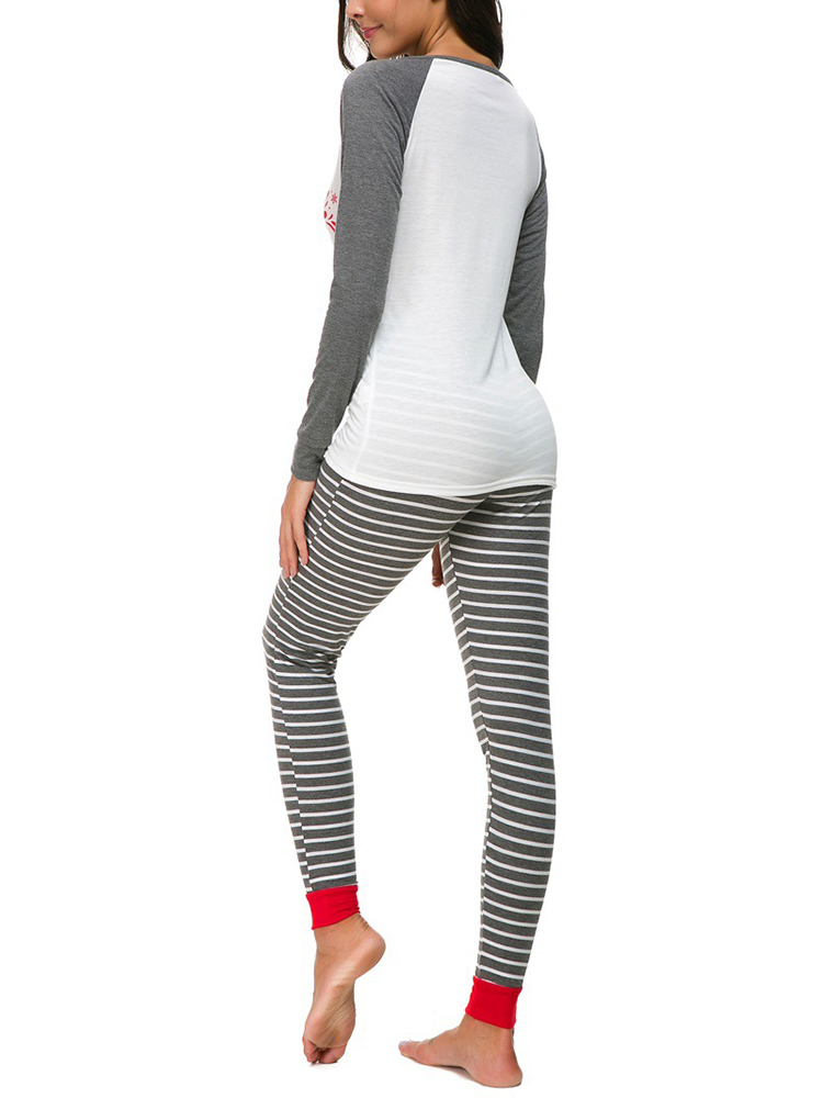 Women Christmas Print Striped Pants Set Tracksuit