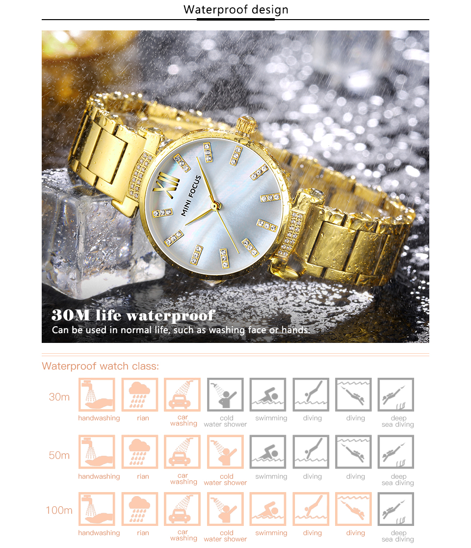 MINI FOCUS MF0227L Simple Design Steel Women Quartz Watch