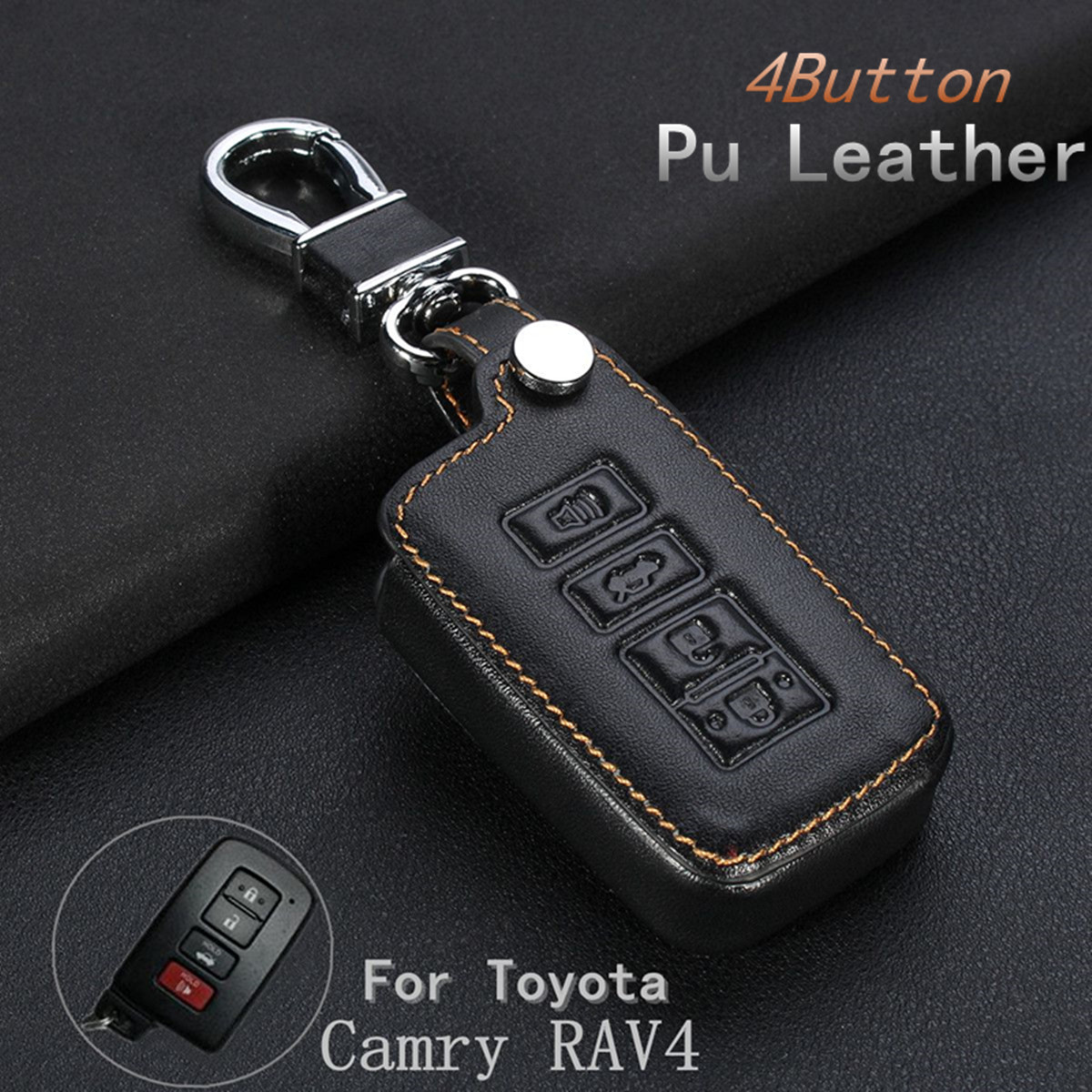 4 Buttons PU Leather Fob Remote Key Shell Case Cover Holder For Toyota Camry RAV4
