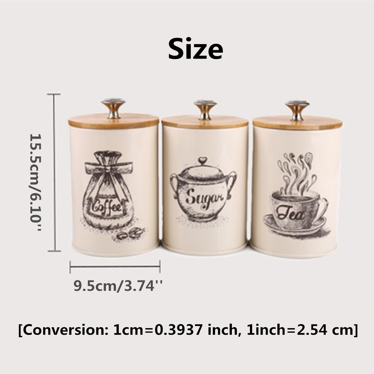 3Pcs Retro Tea Coffee Sugar Canisters Jars Pots Tins Kitchen Storage Container