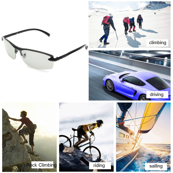 UV400 Polarized Photochromic Sunglasses Men's Driving Transition Lens Grey Black
