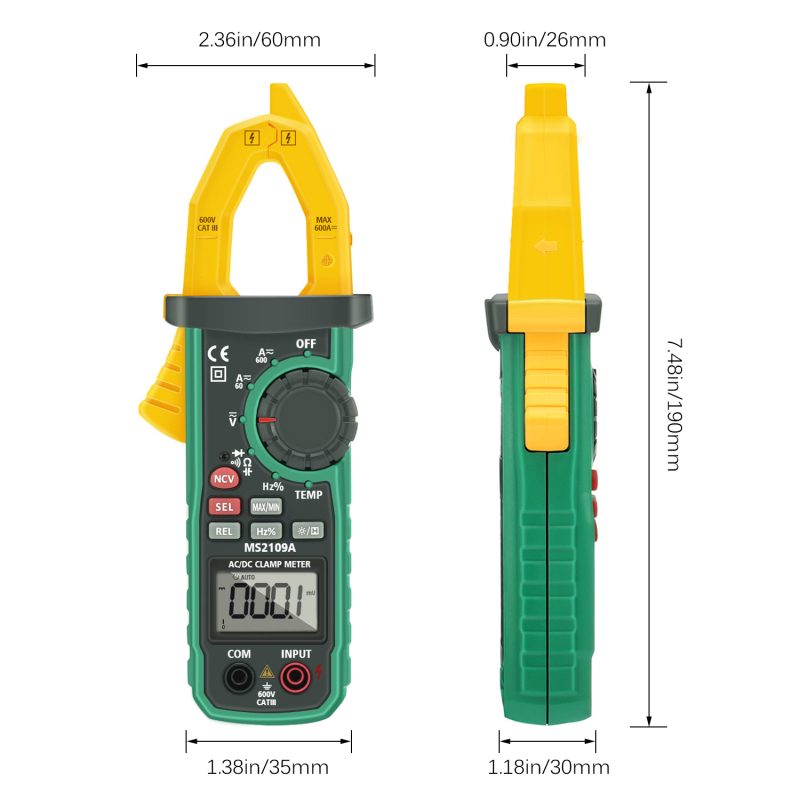 LIUMY LM3010 Auto Range Digital AC DC Clamp Meter Multimeter Volt Amp Ohm HZ Temp Capacitance Test