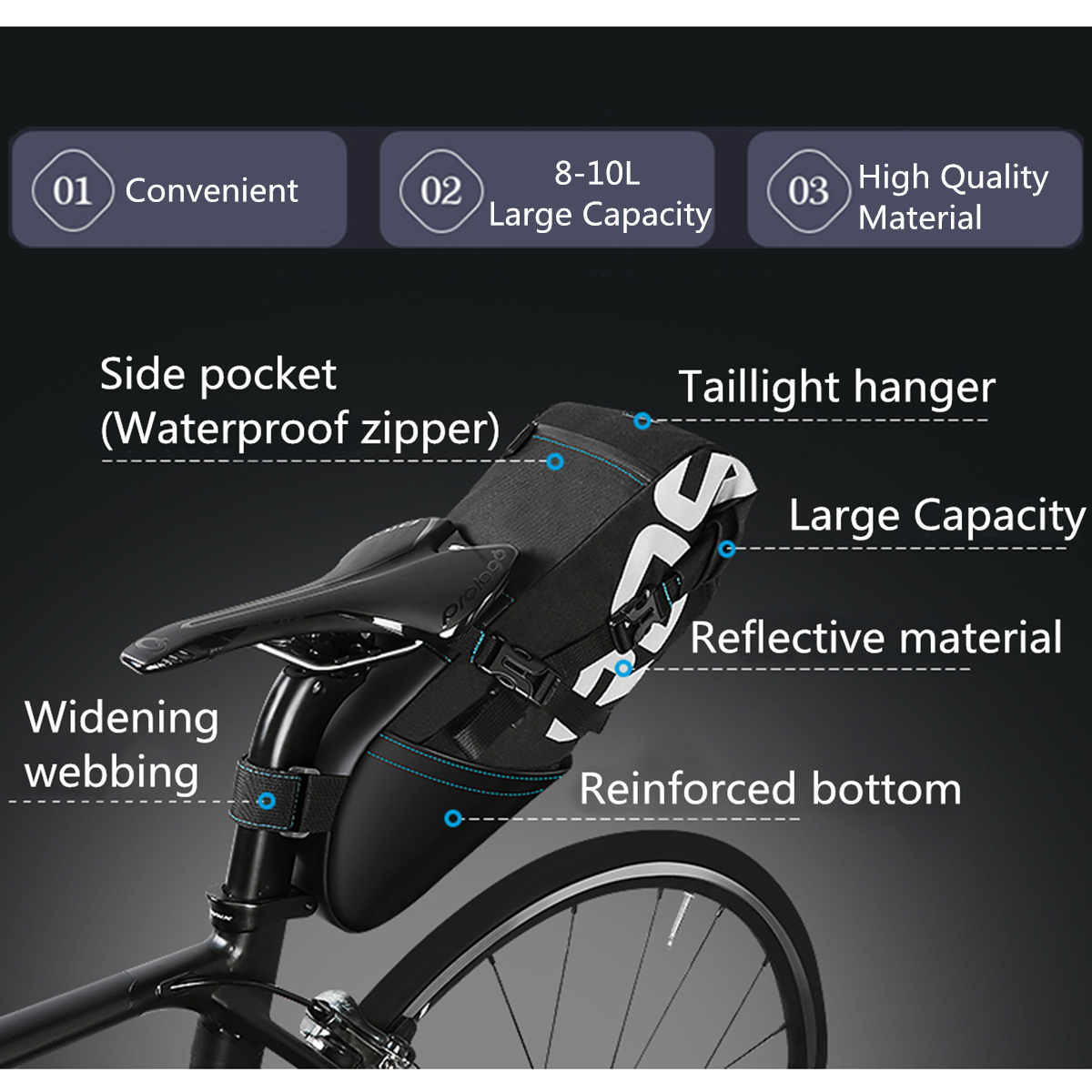 BIKIGHT 8L/10L Waterproof Nylon Cycling Bicycle Saddle Seat Bag Bike Saddlebags Seat Reflective Pack Pouch