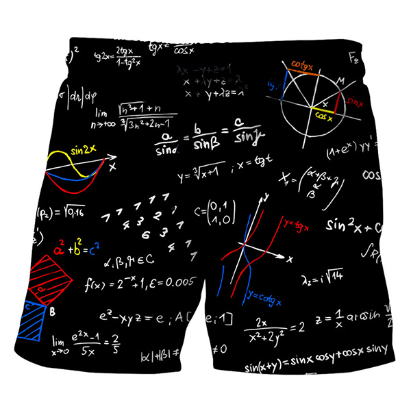 Creative Equation Printing Summer Casual Beach Board Shorts