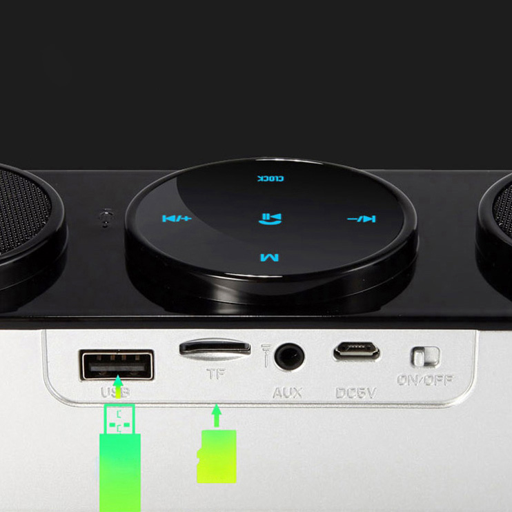 Portable bluetooth Wireless FM Stereo Speaker for SmartPhone Tablet Clock