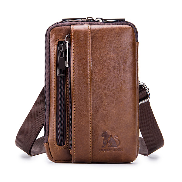 Men Genuine Leather Solid Waist Bag Shoulder Phone Bag Cross