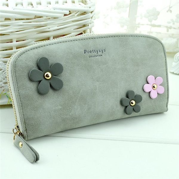 Flower Zipper Long Wallet Casual 8 Card Holder Candy Color Purse Coin Bags Phone Bags For Iphone