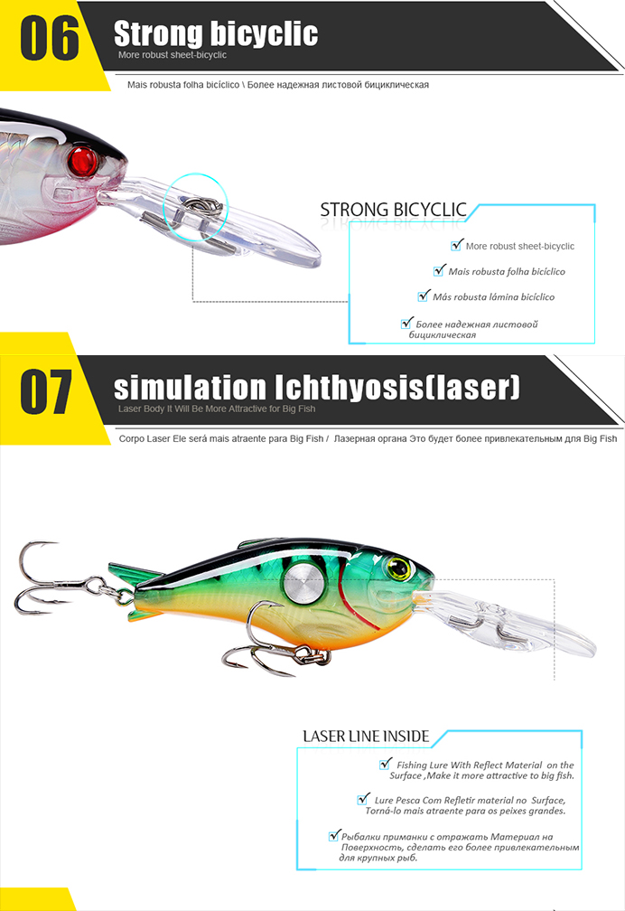 SeaKnight SK003 1PCS Fishing Lures Floating 1.8M-3.9M 55mm 10g Crank Artificial Hard Fishing Bait