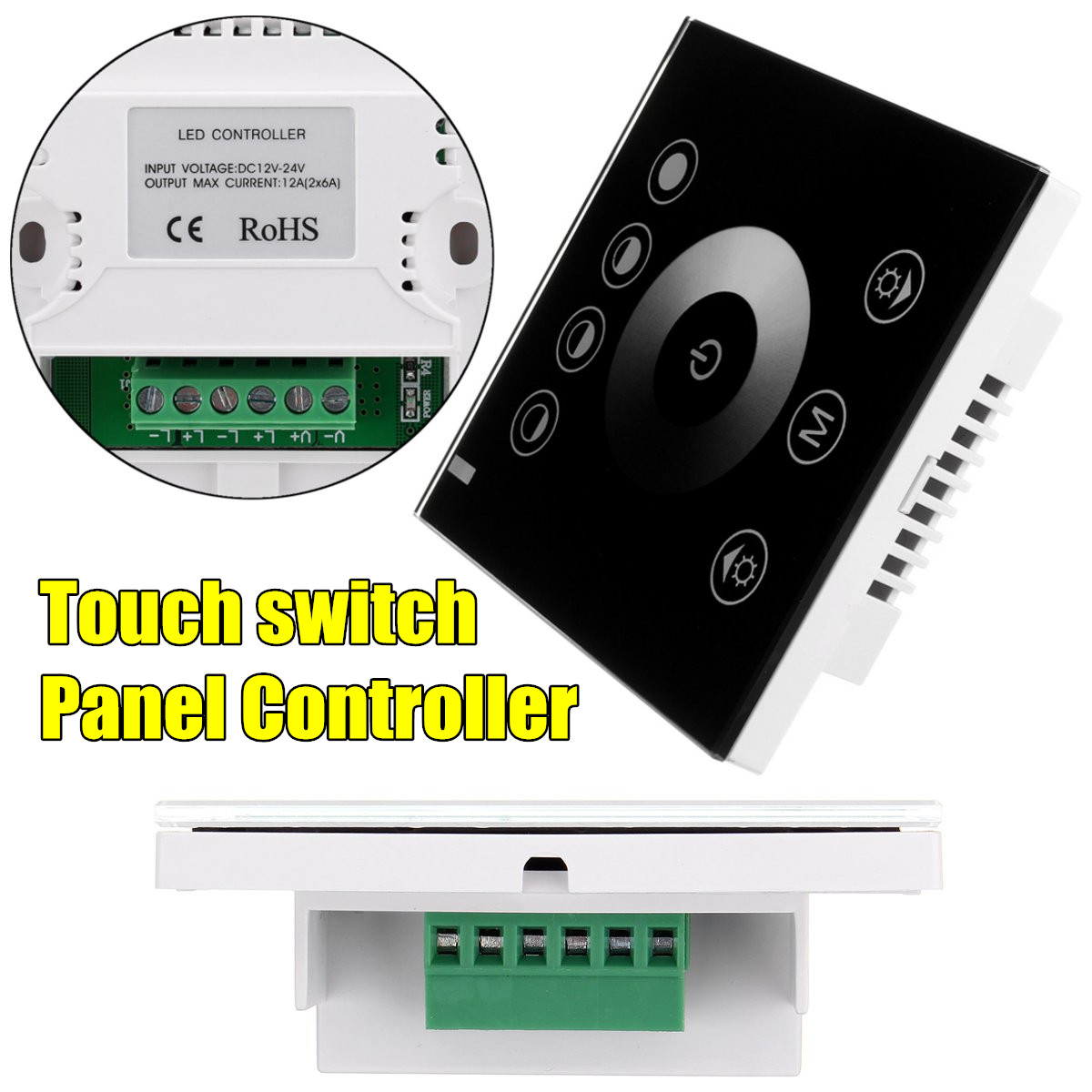 Wall Mount Touch Panel Switch Dimmer Controller for Single Color LED Strip DC12V-24V