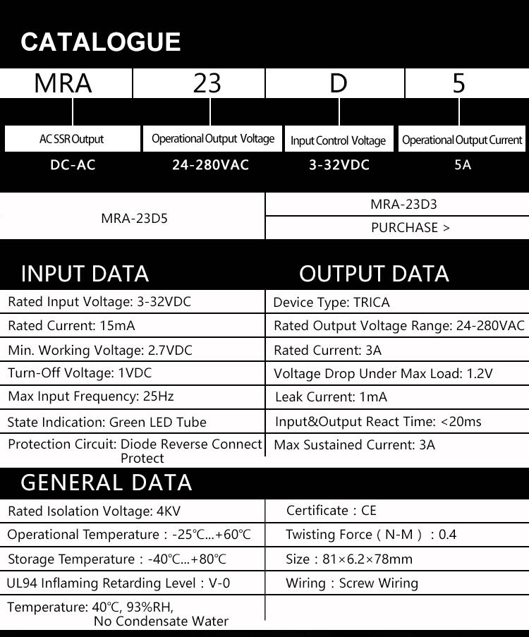 Combinazione di relè a stato solido senza contatto Combinazione di relè relè MRA-23D5 Scheda relè Piatto