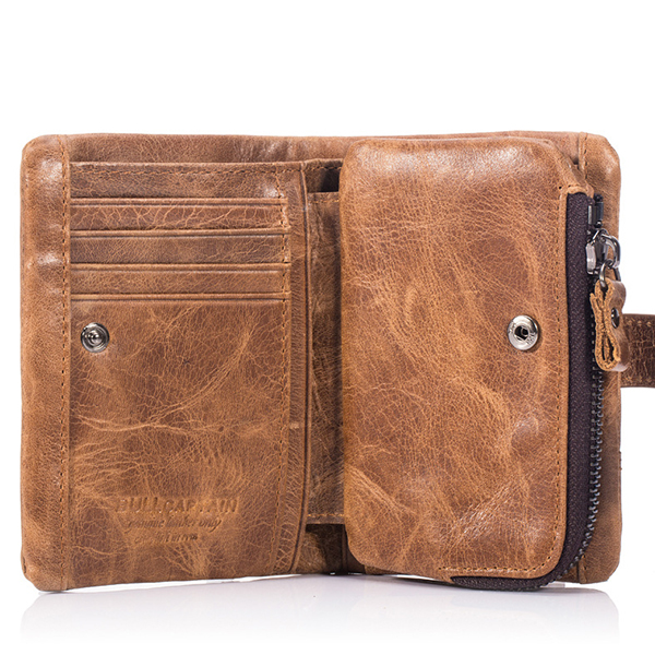 Bullcaptain® Men Vintage Wallet Leather Purse Casual Short Wallet with Coin Bag