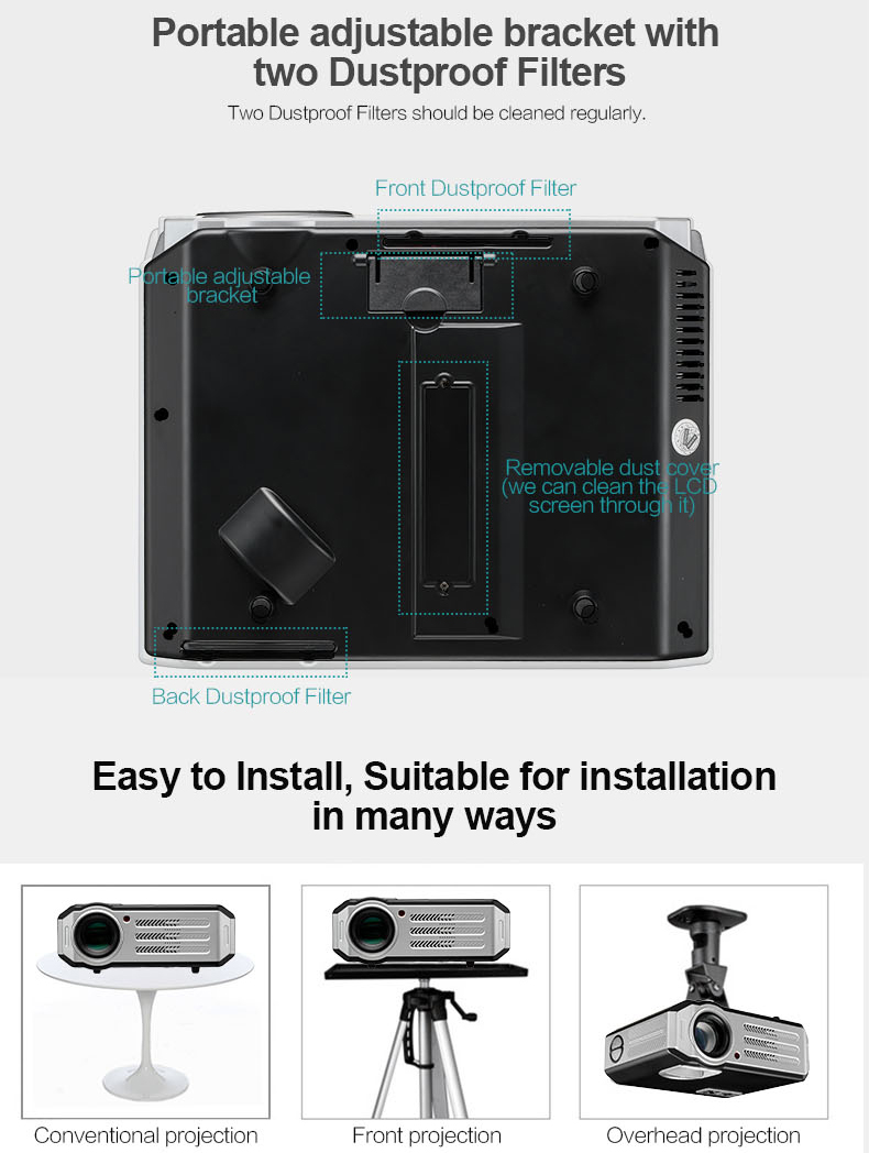 G817A 3D Android 4.4 3200 Lumens LED LCD Projector 1280 x 800 8G ROM 1G RAM Home Theather Projector