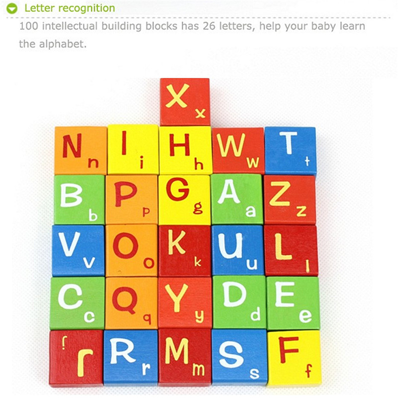 100PCS Wooden Colorful Letters Numbers Blocks Kids Intellectual Development Toy