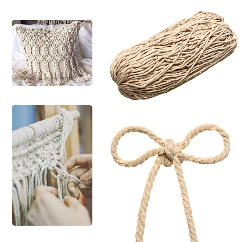 4/5/6mm Macrame Rope Natural Beige Cotton Twisted Cord String DIY Jewelry Bracelet Craft